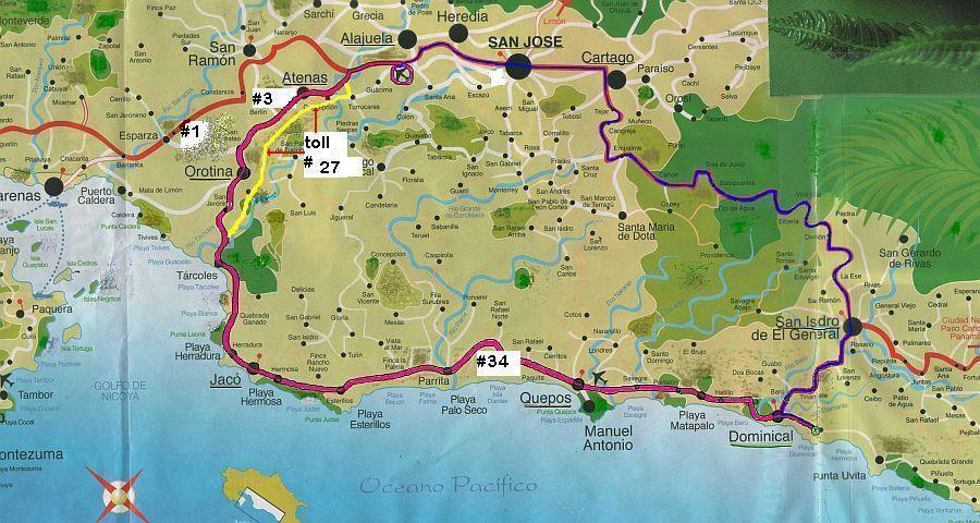 playa dominical costa rica road map