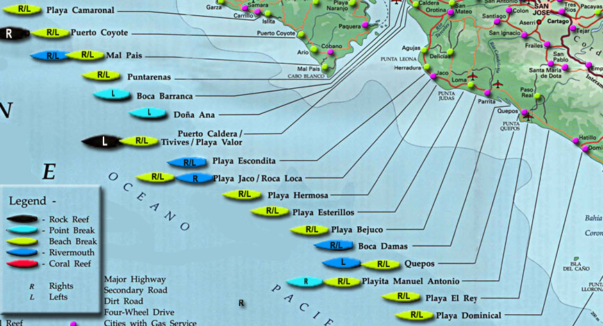 playa dominical costa rica map surf