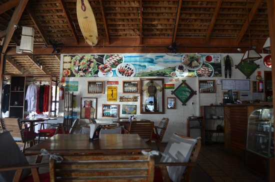 Cafe inside Mormaii Surf Shop in Garopaba Town.